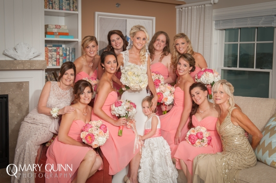 beautiful bridal party with bride pretty in pink