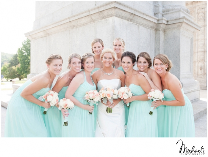 beautiful bridal party with bride in mint green