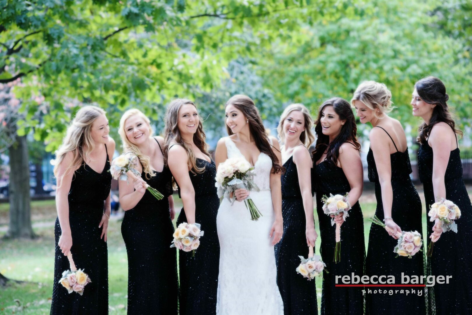 beautiful bridal party with bride