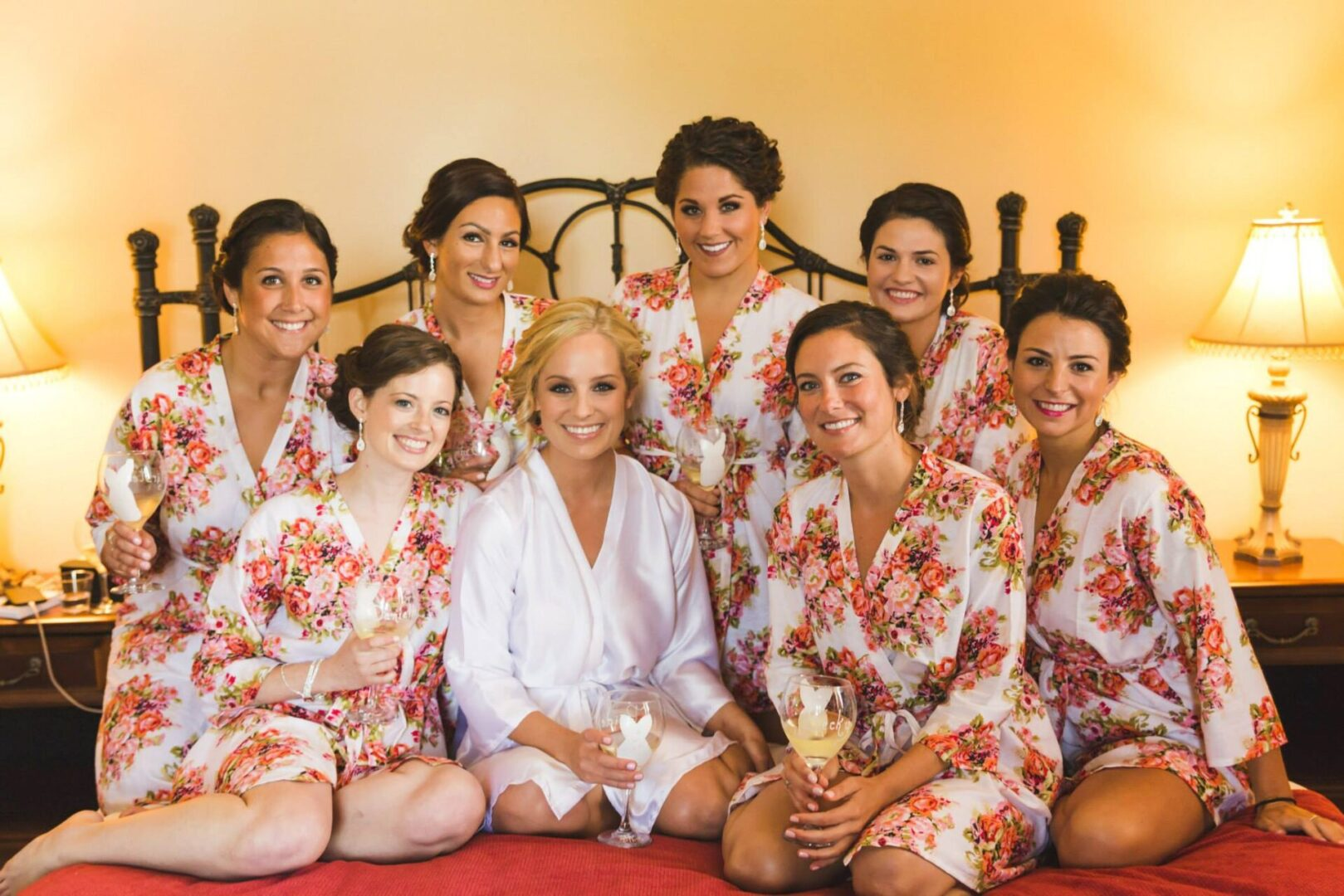 beautiful bridal party with bride at Normandy Farm weddings