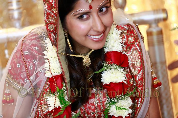 Indian bride hair and makeup by Bella Angel