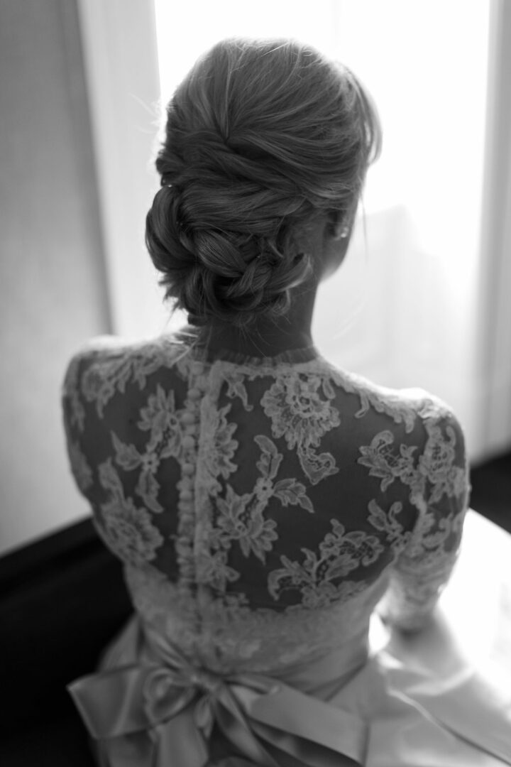 beautiful bride in white with a gorgeous updo