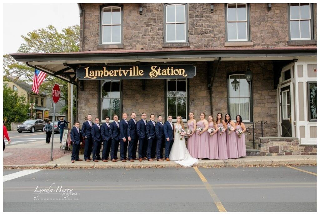 bridal party at Lambertville Station Inn