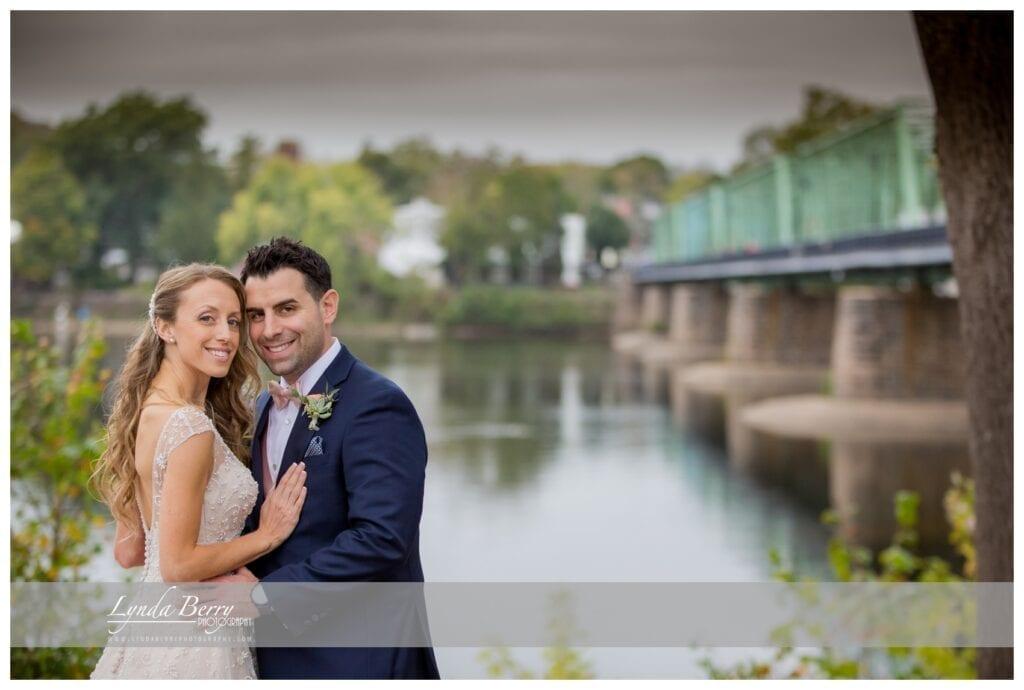 bride and groom at Lambertville Station Inn