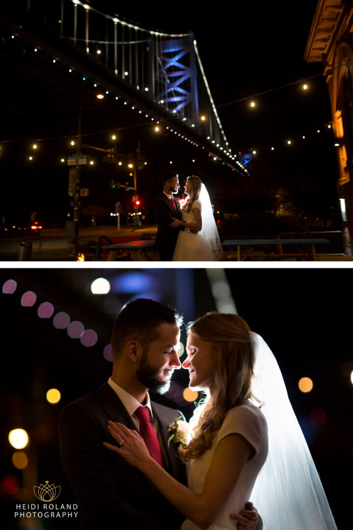 Bride and groom outside of La Peg Restaurant in front of the Ben Franklin Bridge and the amazing skyline. Philadelphia Wedding at La Peg