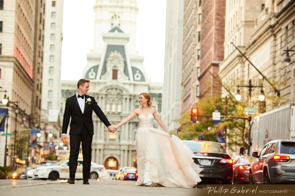 Broad Street Philadelphia wedding photo with City Hall in background