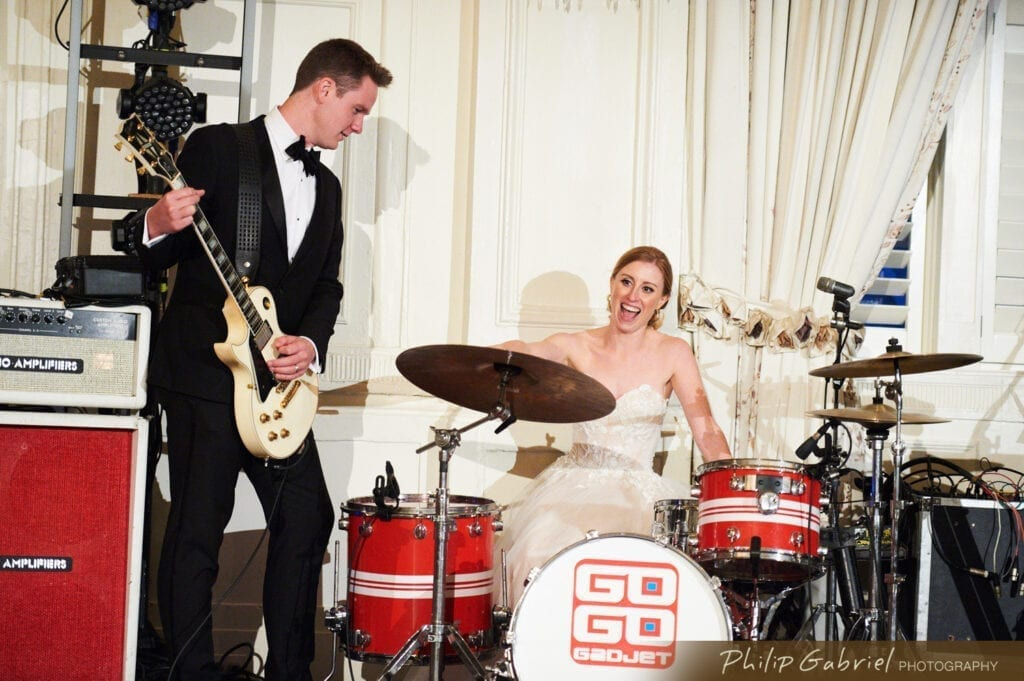 bride and groom jam session at Bellevue Hotel