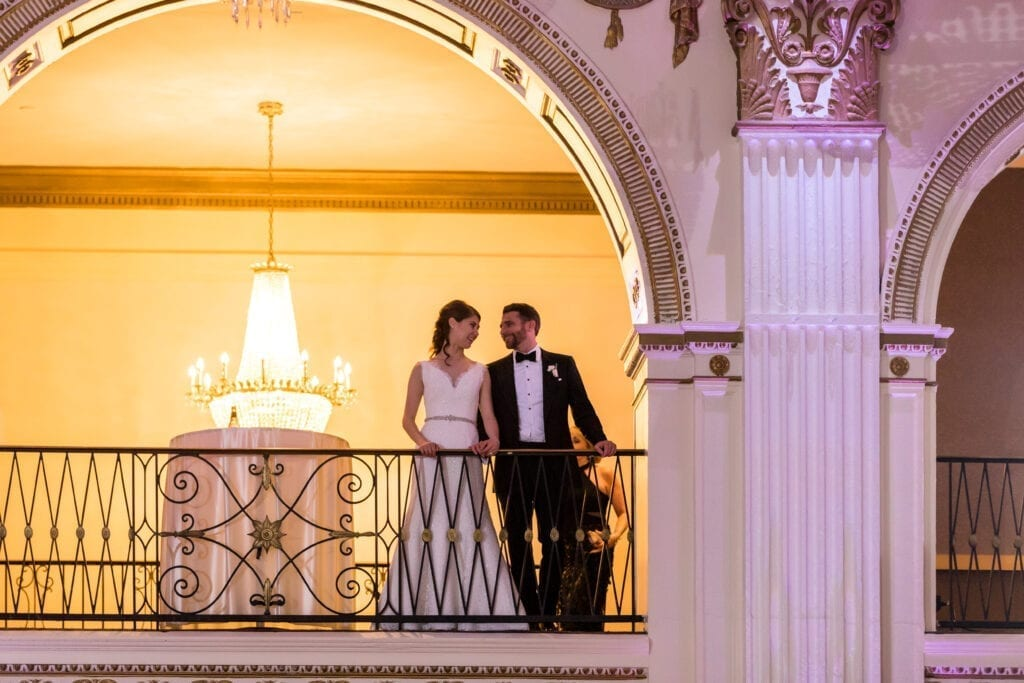 Ballroom at the Ben balcony with bride and groom