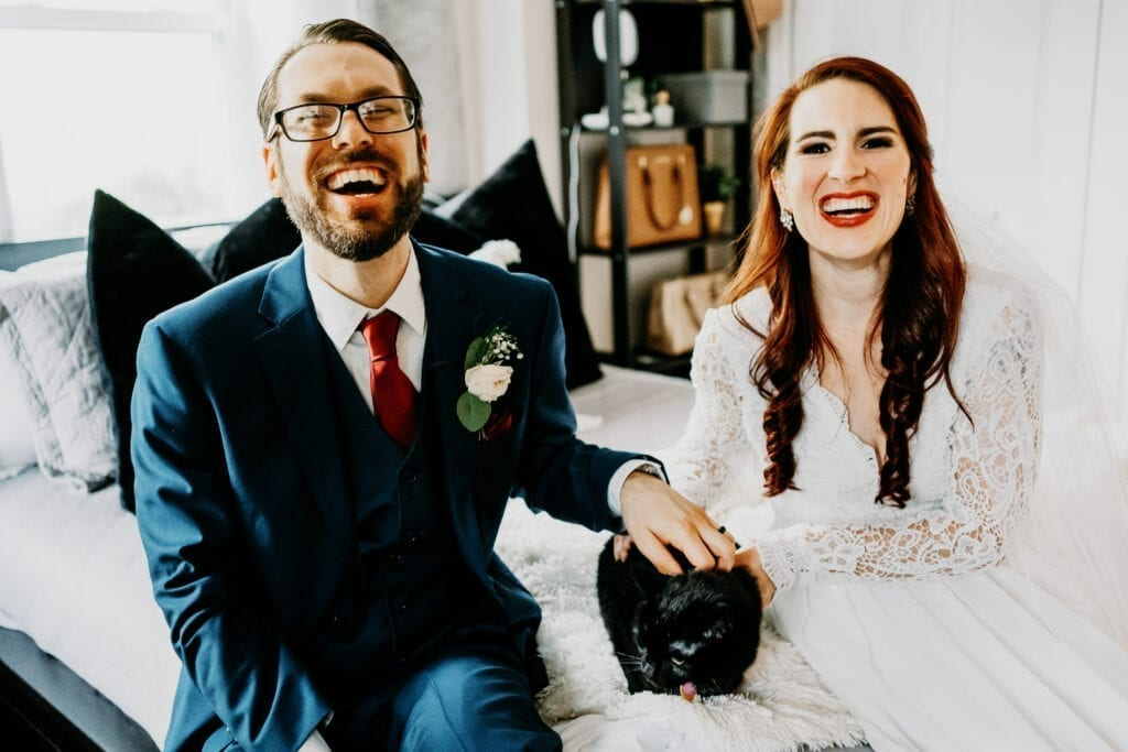 Bride groom and cat
